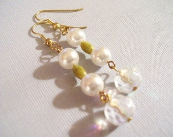 Pearls and Green Dolomite Earrings