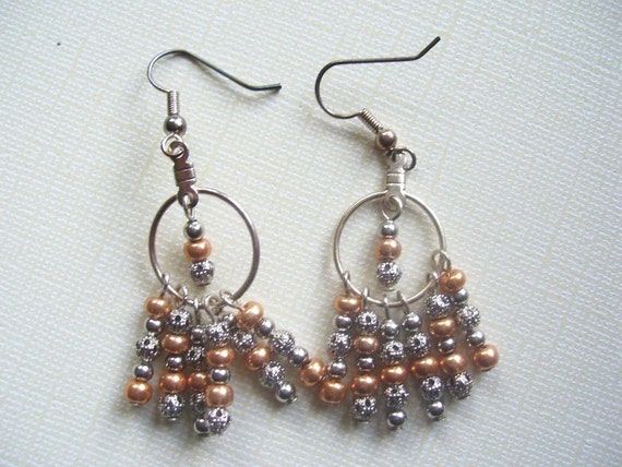 SALE! Silver Metal and Gold Glass Beaded Fringe Earrings