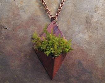 Living Jewelry Pendant Keepsake Copper Patina Planter Necklace