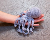 crochet octopus - soft delicate baby blue with lilac eyes