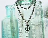 SALE - anchor and chain - delicate pendant on smooth thick metal chain