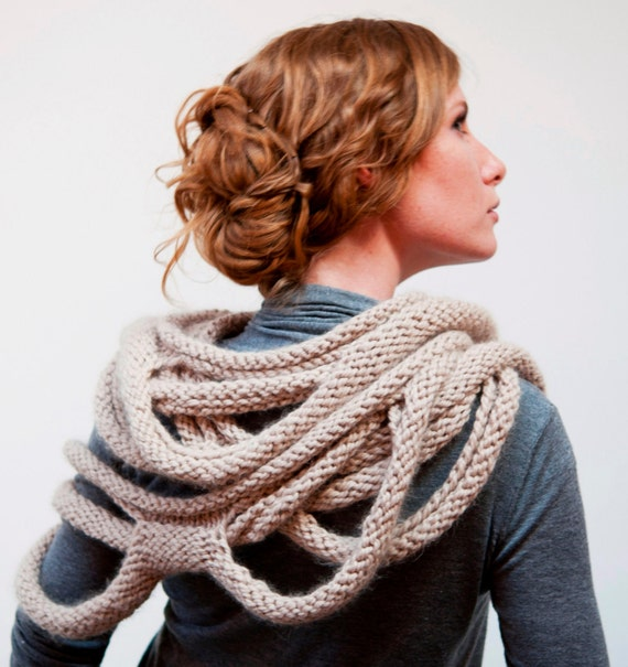 Medusa Loop Scarf hand knitting pattern PDF by RubySubmarine
