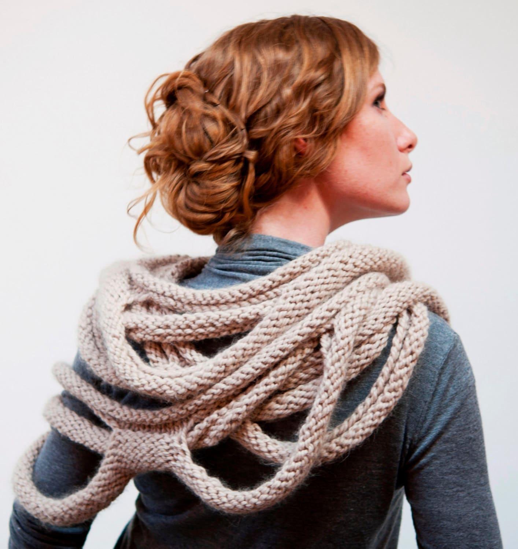 Knitting Patterns For Unusual Scarves : Medusa Loop Scarf hand knitting pattern PDF