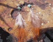 Natural Feather with  Turquoise Bead Earrings