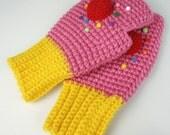 Pink Cupcake Fingerless Mitts