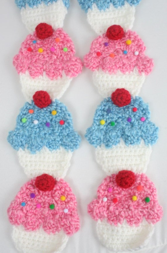 Cupcake Scarf - Pink and Blue Frosting