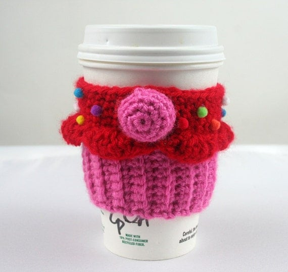 Cupcake Coffee Cup Cozy - red frosting, pink cake, pink cherry