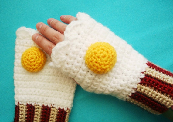 Bacon and Egg Fingerless MItts - Made to Order