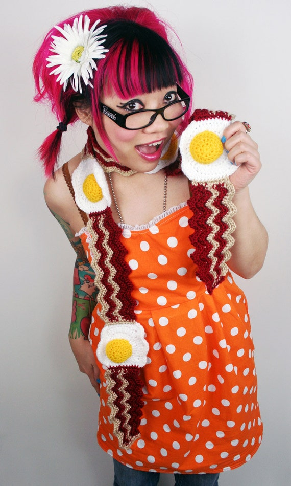 Bacon and Egg Scarf Made To Order by TwinkieChan on Etsy