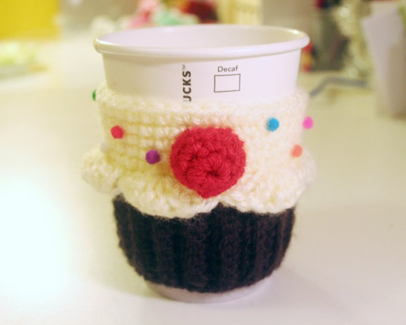 Cupcake Coffee Cup Cozy/Sleeve (Vanilla and Chocolate)