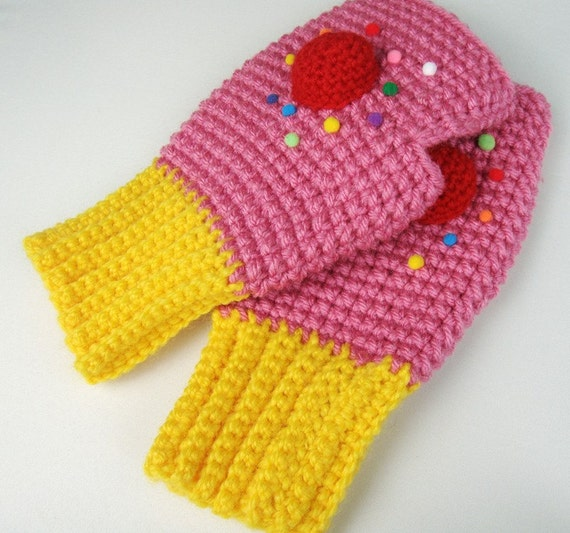 Pink Cupcake Fingerless Mitts