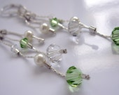 CLEARANCE SALE - Peridot and Crystal Swarovski Crystal and Swarovski Pearl earrings - sterling silver