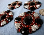 4 Red Black White Pearl Rhinestone Patches gLaM Iron On Sew on Lot