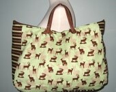 Large Carrying Tote - Into the Woods in Mint by Sharyn Sowell - Shoulder Bag Deer Green Brown Fawn Doe