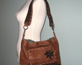 Brown Leather Bag - Convertible Crossbody and Shoulder - Hand Sewn Stitched - Batik - Cross Body