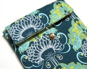 Padded iPad Sleeve - Kindle DX Sleeve - Tablet Sleeve - Filigree Art Gallery / Terrace Pots and Tender Sprouts - Ready to Ship