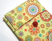 Padded iPad Sleeve - Kindle DX Sleeve - Tablet Sleeve - Yellow and Red Kaleidoscope Star Bursts - Ready to Ship