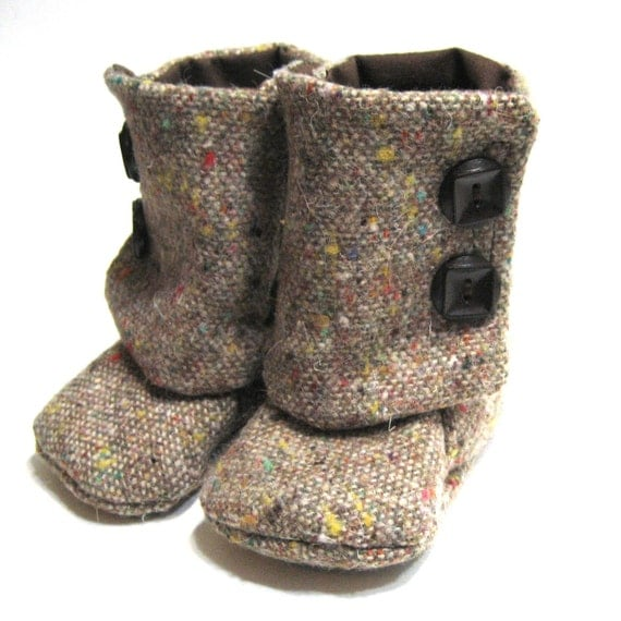 Brown Speckled Wool Baby Booties 6-9 months Size 3