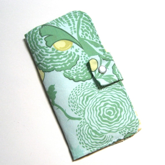 Bi-fold Checkbook Wallet in Amy Butler Midwest Modern Fresh Poppies in Green
