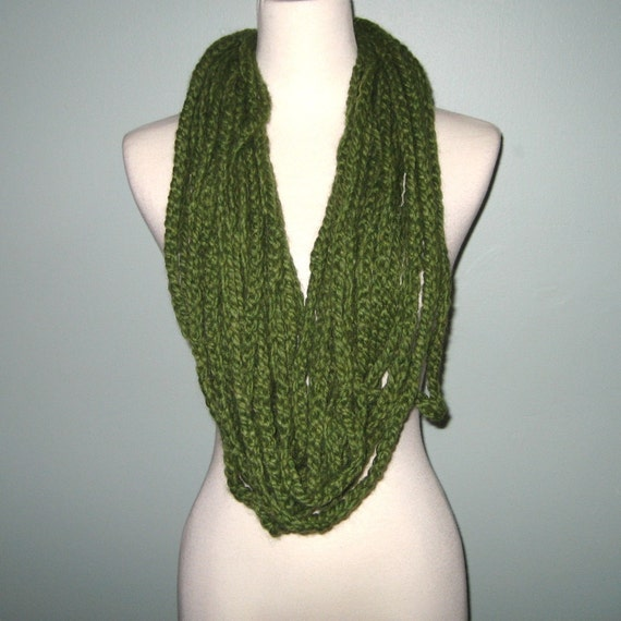 Convertible Braided Scarf Necklace - Grass Green - Wool/Acrylic Blend- SALE
