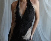 reserved for Sophie - first payment - Dresses SALE Nuno felted eco dress - Black coffee OOAK - last sale 30 percent off
