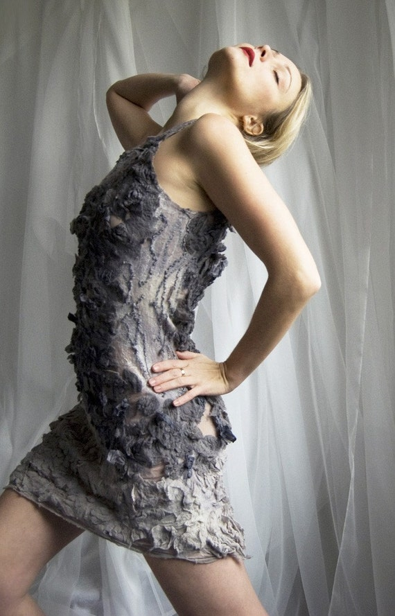 Reserved for Elvinwear -  Nuno felted eco dress - She Bird OOAK