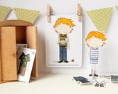 Colin Gift Set - Paper Doll, Dress Up Outfits, Postcard