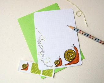 Snail Notecards - Squared - Set of Six Postcards with Stickers - Snail Stationery - Quirky Stationery
