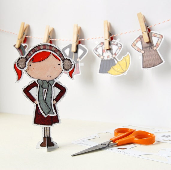 Clara Paper Doll - Dress-Up Doll - The Winter Outfits - Postcard Paper Toy