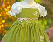 Birthday twirl dress, apron dress, flower girl dress, sage green pink, special occasion dress, romantic dress, girl's formal dress, shabby