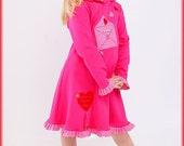 Girl jersey dress, hoodie dress, valentine dress, pink dress, ruffled dress, pixie hood, long sleeve dress, appliqued dress, school dress