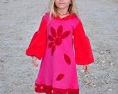 Valentine jersey dress, pink red hoodie dress, pixie dress, love me love me not, long sleeve dress, applique dress, tween girl dress