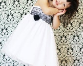 Wedding flower girl white tulle dress black lace custom Size 12 months to 12 years - Parisa