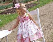 Tea Party Little Bird Custom Applique  twirl dress size 12 mths to 12 yrs