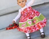 Valentine pink dress, love birds dress, floral dress, romantic dress, corduroy dress, paisley dress, applique dress, twirl dress, baby dress