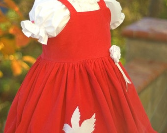 Girls Dress Christmas Valentine holiday birthday pageant formal red white corduroy apron twirl dress size 12 months to 12 yrs Peace