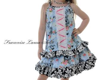 Floral blue pink twirl skirt swing top outfit, ruffled skirt, ruffled halter top, black white damask spring summer set
