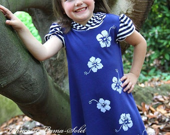 Navy white patriotic hoodie dress, pixie hood tween girl cruise jersey dress, striped floral hawaiian dress, puff sleeve ruffled dress