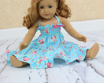"""American Girl blue flower twirl dress 18"""" doll clothes  - Petite Fleur - Last one available"""