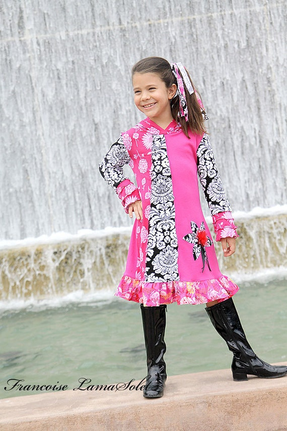 Edge Girl Cailee Custom Patchwork Hoodie Knit Dress size 2t to 12 months