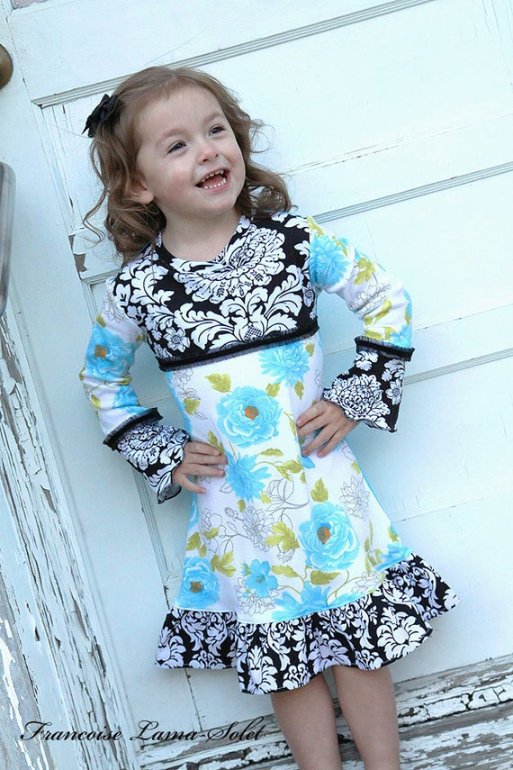SALE Girl dress, fall winter dress, long sleeve dress, jersey dress, black aqua white, floral dress, back to school, ruffled dress Size 4/5