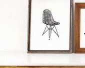 "wire eames chair linoleum block print - 9"" x 12"" wall art"