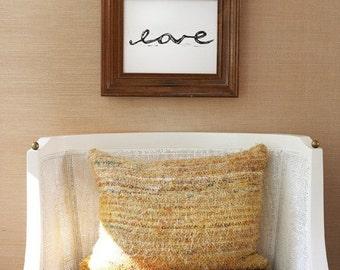 """love linoleum block print - 9""""x 12"""" wall art"""
