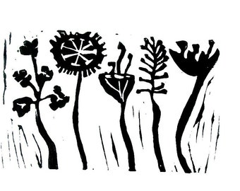 "meadow flowers linoleum block print - 9"" x 12"" wall art"