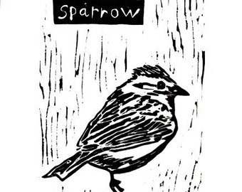 "sparrow linoleum block print - 9"" x 12"" wall art"