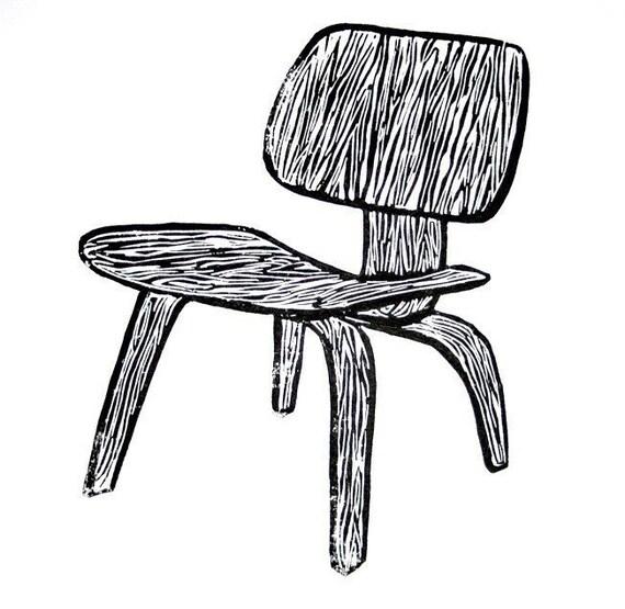 "plywood eames chair linoleum block print - 9"" x 12"" wall art"