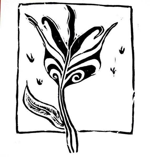 "window flower linoleum block print - 11"" x 14"" wall art"