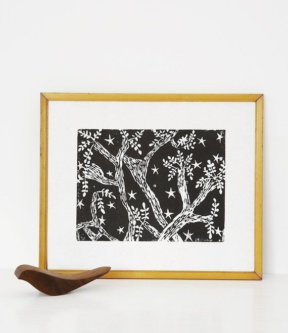 "evening trees linoleum block print - 11"" x 14"" wall art"