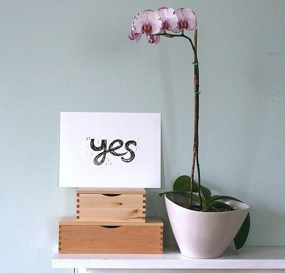 "yes linoleum block print - 9"" x 12"" wall art"