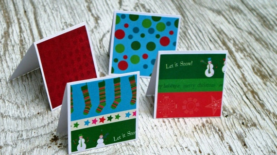 Let It Snow Note Cards / Gift Tags / Place Cards Set Of 24